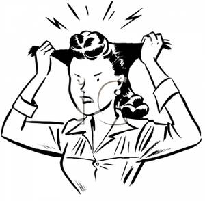 A_Black_and_White_Cartoon_Woman_Pulling_on_Her_Hair_In_Frustration_Royalty_Free_Clipart_Picture_110103-157001-191053